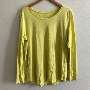 Loft Basic Long Sleeve Tee, Chartreuse, Size XL